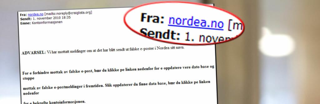 <B>REN SVINDEL:</B> Denne e-posten skal angivelig være sendt fra Nordea.no. Det stemmer ikke, Nordea har ingenting med denne e-posten å gjøre. Foto: E-post/DinSide