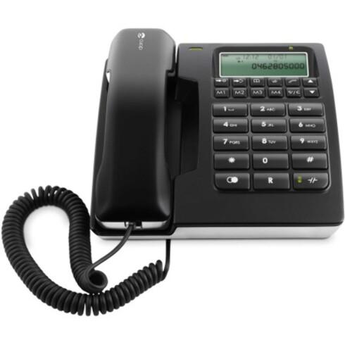 Doro 914C er Elkjøps mest populære fasttelefon. Den er ifølge nettsiden en stilig hustelefon med display, som kan henges fra vegg eller ligges på et bord. Foto: Doro/Elkjøp.no
