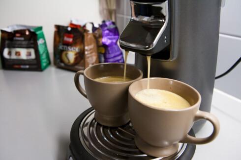 Senseo-maskinen kan lage to kopper på en gang. Foto: Per Ervland