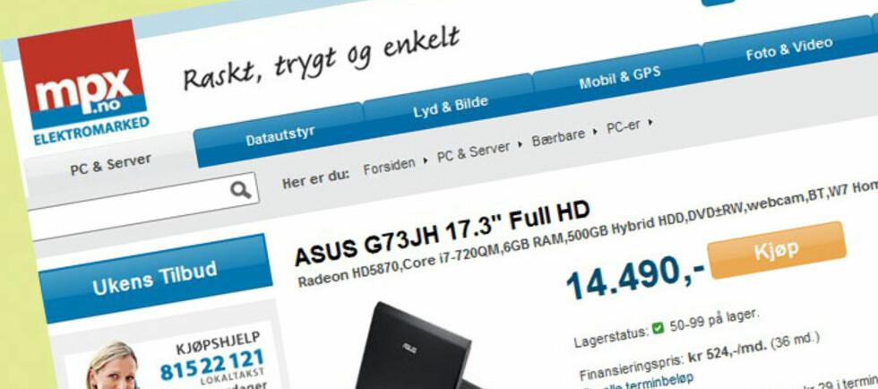 Den kraftige bærbare PC-en ble feilaktig satt ned til 5.999 kroner. Foto: Mpx.no