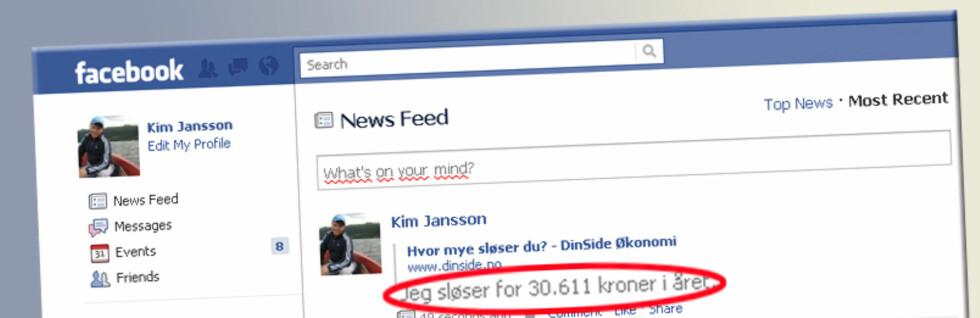 """TØR DU INNRØMME HVOR MYE DU SLØSER? Test ut //www.dinside.no/787895/slosekalkulator"""">sløsekalkulatoren her, og del resultatet på Facebook og Twitter. Foto: Facebook"""