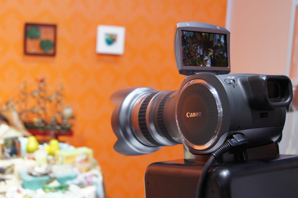 """Canons nye """"multi-purpose camera"""" filmer med 4K-oppløsning (4x full HD), og det så naturligvis imponerende ut. Foto: Pål Joakim Olsen"""