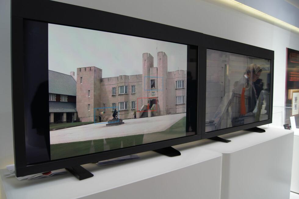 Med sin nye sensor på 120 megapiksler, viste Canon også et kamera som kunne ta 1,4 bilder i sekundet i full oppløsning, eller ta opp full HD-film av et utsnitt i bildet. Den røde (og de blå) firkanten(e) viser et utsnitt fra det store bildet som vises i levende full HD på monitoren til høyre. Foto: Pål Joakim Olsen