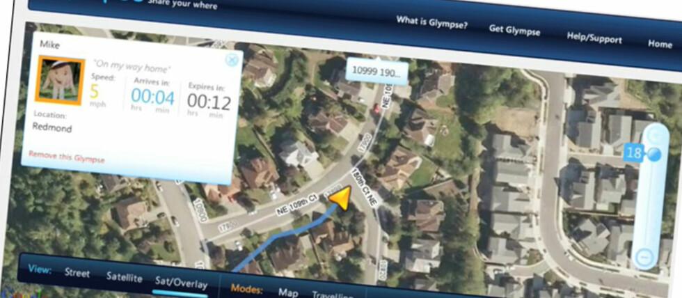 Send andre en Glympse, så får de se på et kart hvor du er og når du kommer frem.