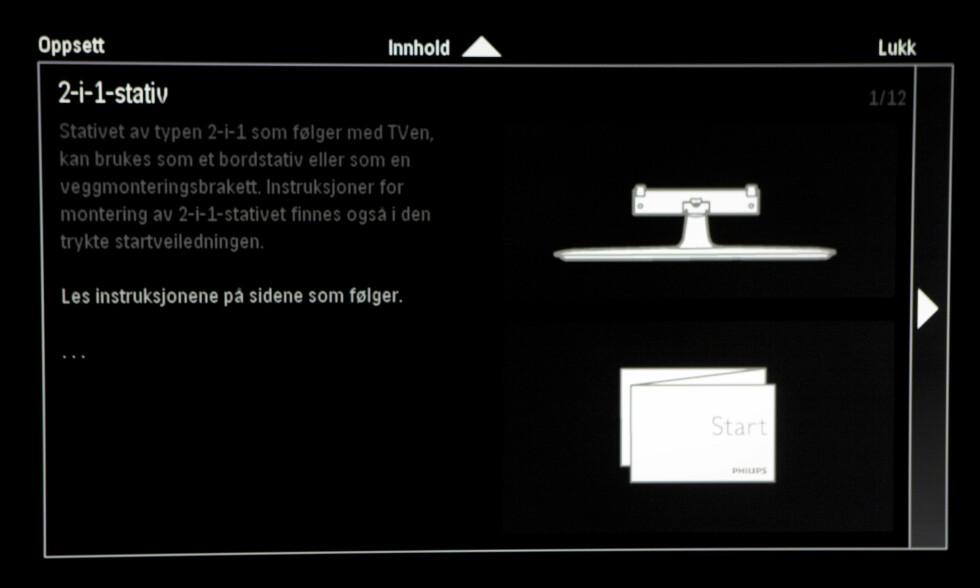 Philips gir deg hele bruksanvisningen på norsk i selve TV-en. Svært praktisk. Foto: Per Ervland