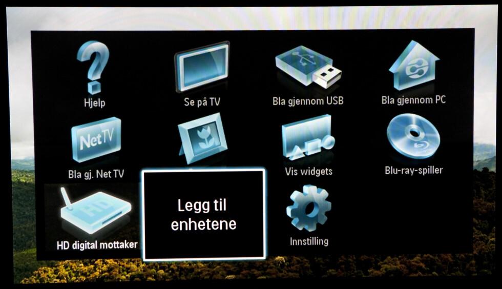 Philips Home-meny: legg til enheter. Foto: Per Ervland