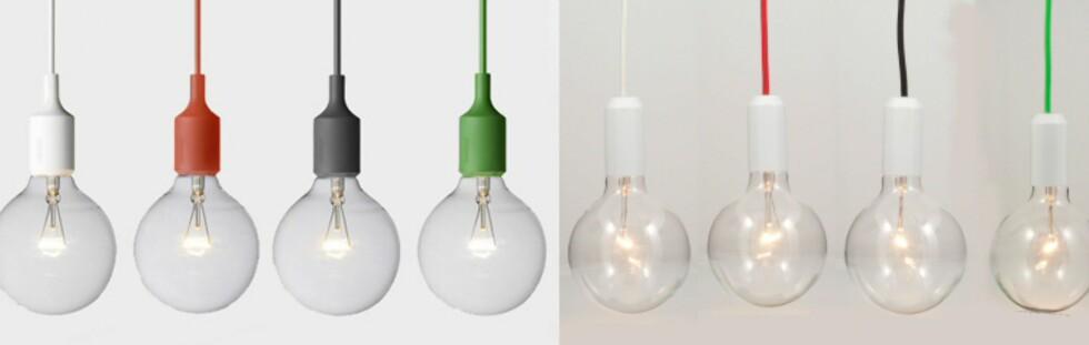 Den lille forskjellen: er ganske enkel å spotte: Selve lampeholderen er farget på lampene til venstre. Er det de som koster mer?  Foto: Produsentene