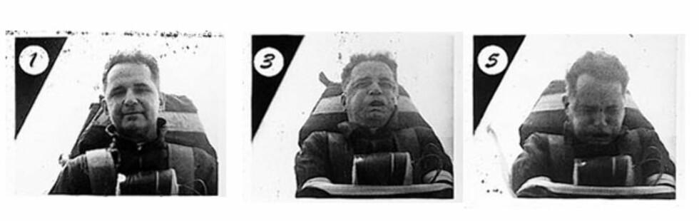 """Bilde av Oberst John P. Stapp på rakettsleden """"Sonic Wind I"""" som kjørte i hysteriske 421 mph i mars 1954. Opprinnelig kilde: http://www.af.mil/news/airman/0498/sled4.htm Foto: Wikimedia-Commons"""