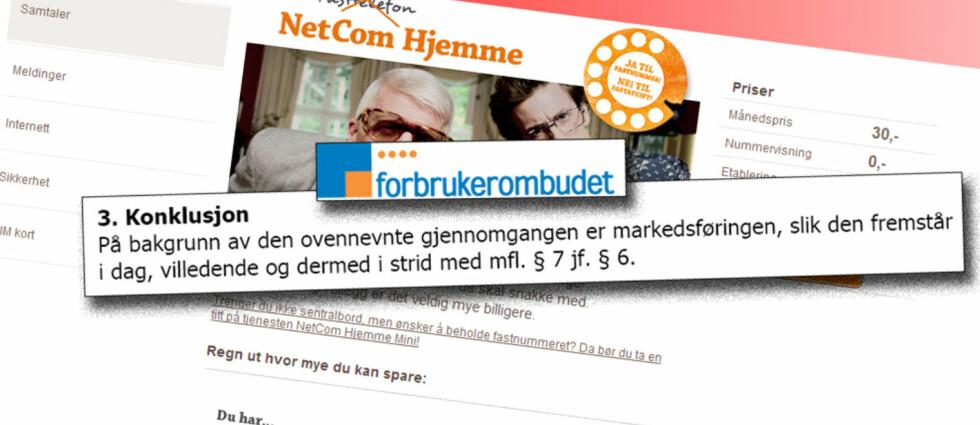 Forbrukerombudet mener NetComs kampanje for NetCom Hjemme på en rekke punkter er kritikkverdig og konkluderer med at kampanjen er villedende. Foto: Jogrim Aabakken