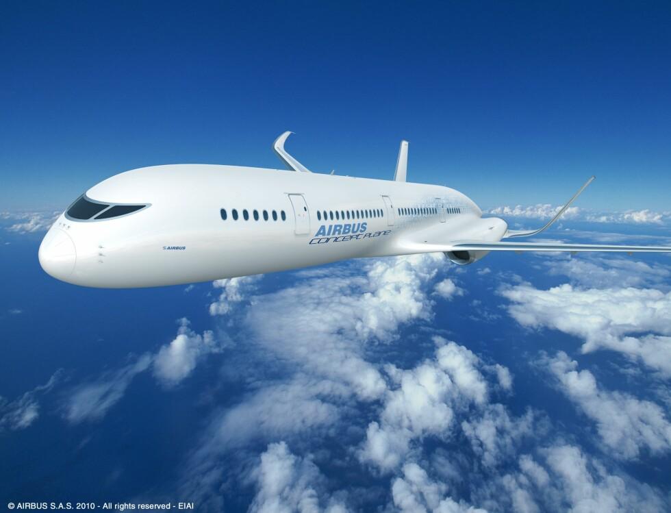 GOD UTSIKT: Men gjennomsiktig tak, gulv og vegger blir nok Airbus fly i 2050 litt av en opplevelse. Om det lar seg gjennomføre vil fremtiden vise... Foto: Airbus