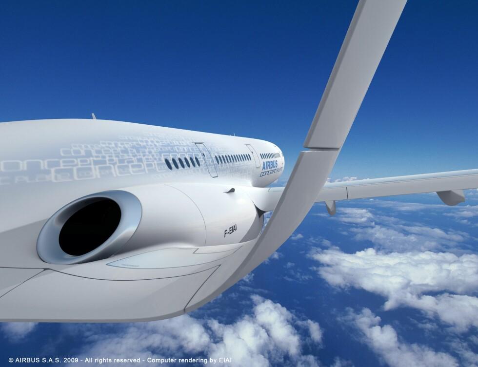 Flyet er langt med tynne vinger og u-formet hale.  Foto: Airbus