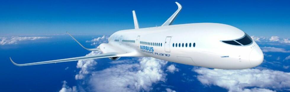 GOD UTSIKT: Men gjennomsiktig tak, gulv og vegger blir nok Airbus fly i 2050 litt av en opplevelse. Om det lar seg gjennomføre vil fremtiden vise... Foto: Airbus Concept Plane