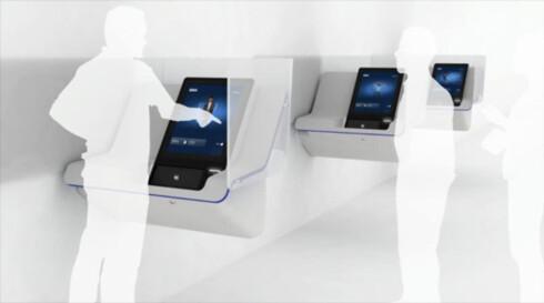 Tanken er at ventende kunder stiller seg på siden av minibanken slik at brukeren får mer privatliv. Foto: BBVA