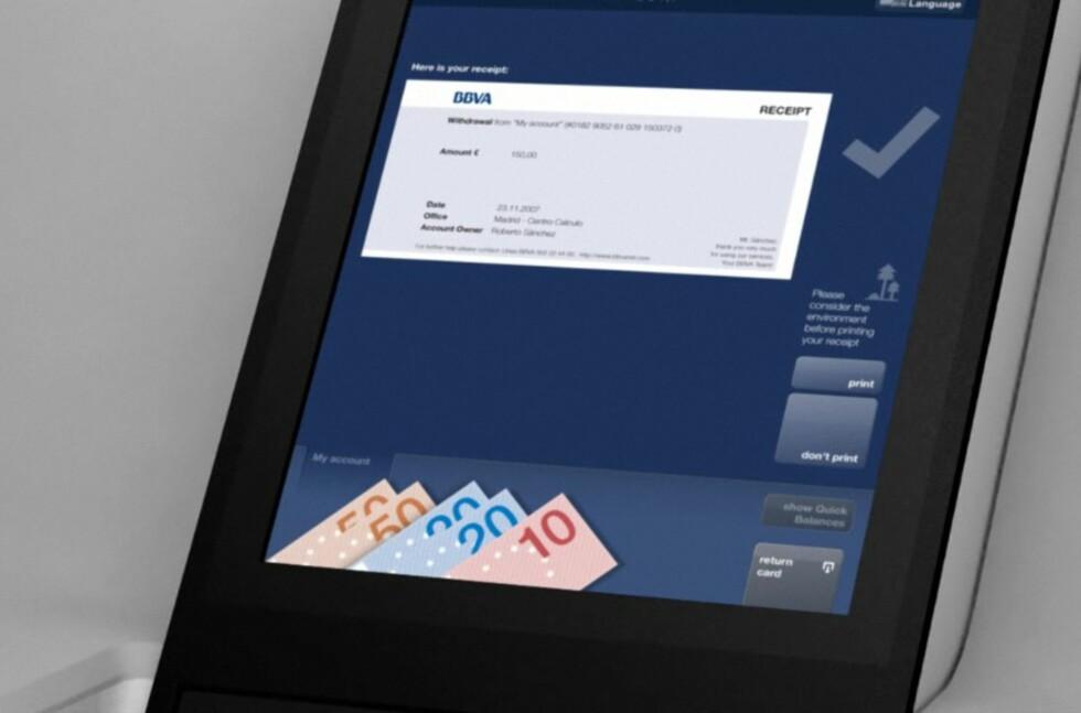 Dette er et av skjermbildene som venter spanske BBVAs kunder når de bruker den nye minibanken med berøringsskjerm. Foto: BBVA