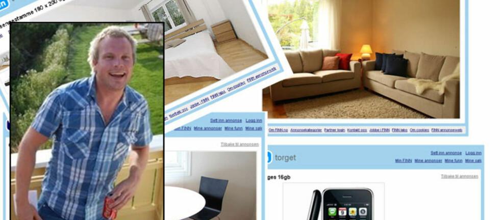 """KJEMPEFORNØYD: Anders Arntsen (på bildet) har kjøpt og solgt mye på Finn.no, og er så fornøyd at han melder seg som """"posterboy"""". Foto: Privat/Finn.no/Collage"""