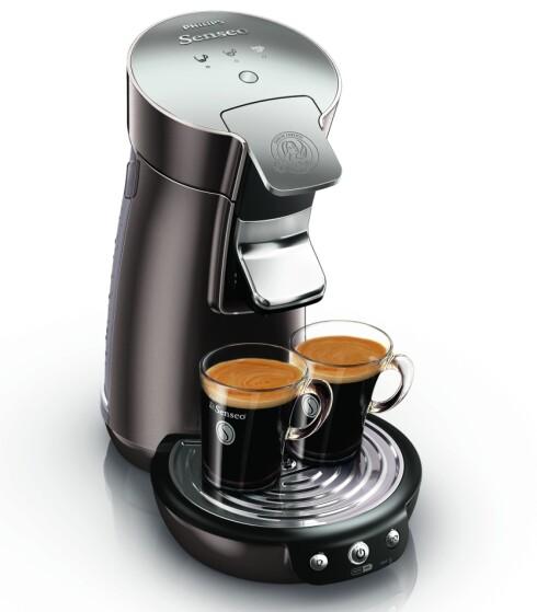 Senseo kan lage to store kaffekopper på en gang - med god crema. Foto: Produsenten