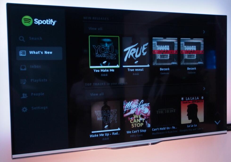 Vi så Spotify-appen i bruk på IFA-messen. Den tror vi det er mange som har ventet på.  Foto: Øyvind Paulsen