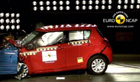 Swift gjorde det godt i flere øvelser og disipliner, deriblant i frontkollisjonstesten. Foto: Euro NCAP
