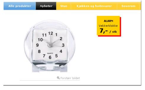 Vekkerklokke for 7 kroner. Kun på Ikea. Foto: Ikea