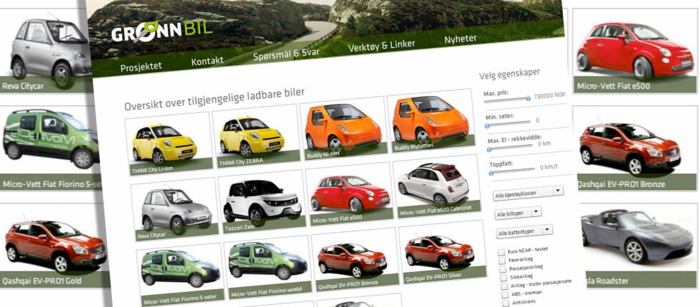 På gronnbil.no finner du en svært nyttig oversikt over elbiler som selges i Norge. Foto: Per Ervland