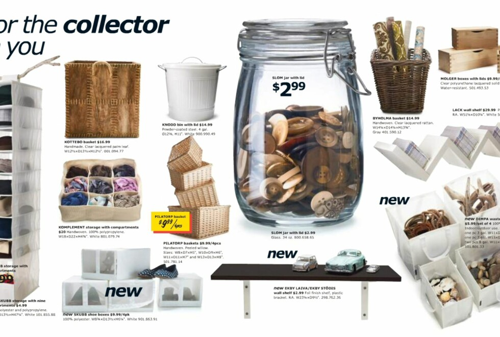 For å få orden på alt nipset, har Ikea en rekke smarte oppbevaringsløsninger. Merk skoboksene på nederste rekke.  Foto: Ikea.com