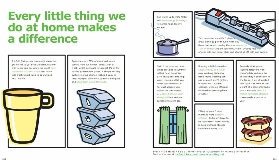 Årets Ikea-katalog har et par dobbeltsider viet til miljø.  Foto: Ikea.com