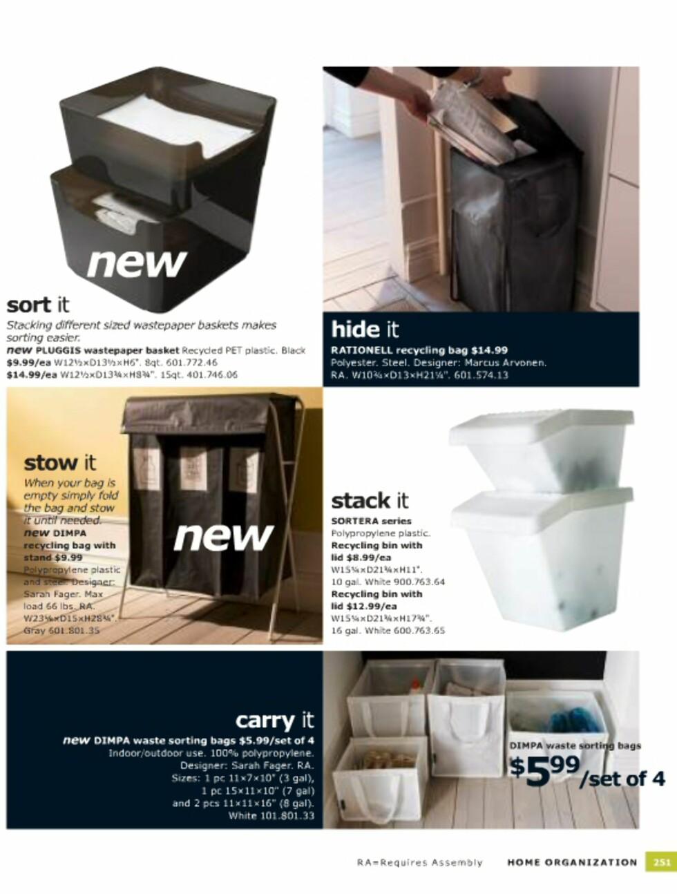 Smarte måter å kildesortere på er også med i årets katalog. Se flere alternativer her Foto: Ikea.com