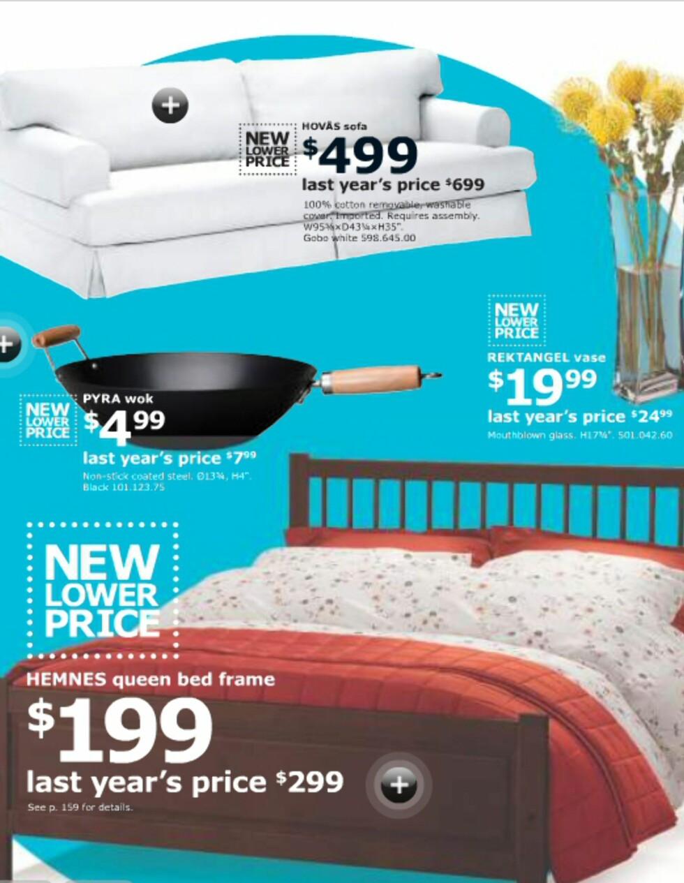 I USA har Ikea satt ned prisen på en rekke varer. Hvilke som vil få nye og lavere priser i Norge, gjenstår å se ...  Foto: Ikea.com