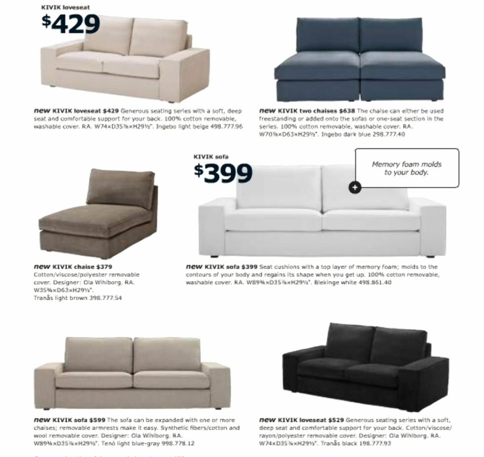 Kivik-serien har et spesielt fyll som skal gjøre det ekstra vanskelig å komme seg opp av sofaen ... Disse har vært tilgjengelige for oss nordmenn en stund.  Foto: Ikea.com