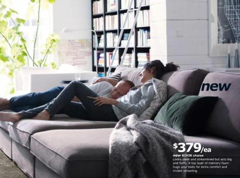 Her er tre sjeselonger fra Kivik-serien satt sammen til å bli en ekstra dyp, myk og god sofa.  Foto: Ikea.com