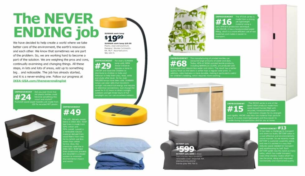 Fokus på bærekraftig produksjon og miljø er ikke påtrengende, men absolutt til stede i årets katalog.  Foto: Ikea.com