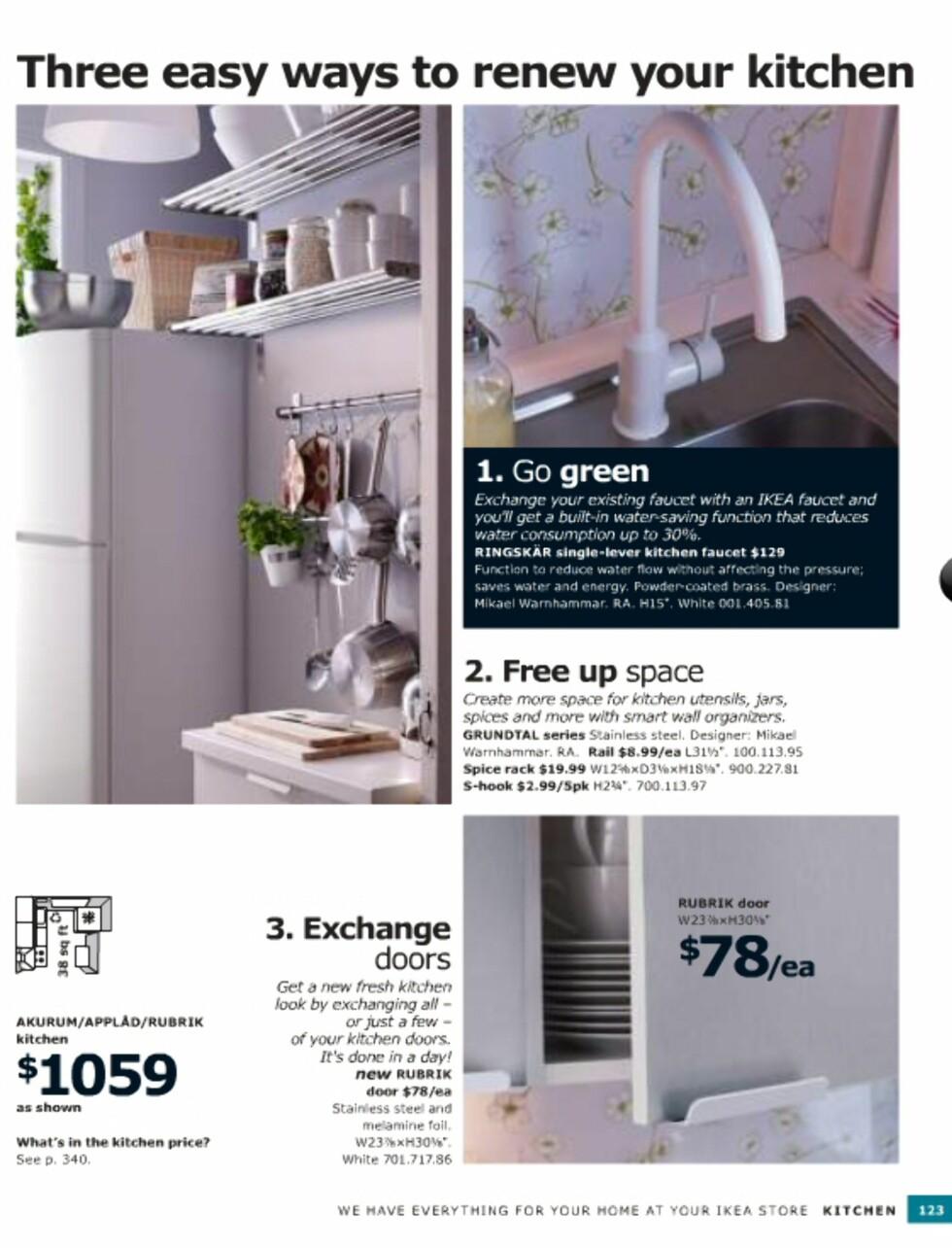 Enkle tips til fornying av rom uten at det trenger å koste skjorten. Sjekk for eksempel de nye kjøkkenfrontene i rustfritt stål. Foto: Ikea.com
