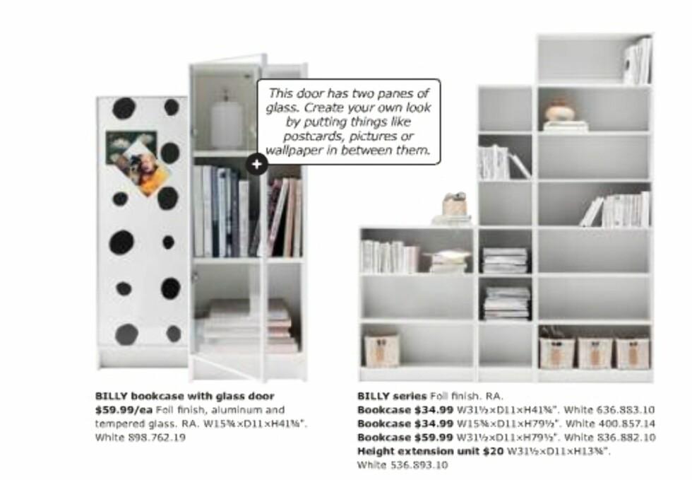Billy-bokhyllen har fått dobbeltdør, det vil si dobbelt glass. Du bestemmer selv om du vil legge noe imellom glassene.  Foto: Ikea.com