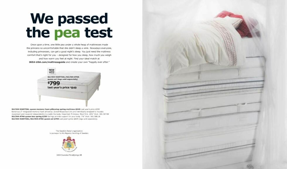 Så god at prinsessene ikke kjenner erten? Tja. Men Ikea kan smykke seg med tittelen kongelig hoffleverandør. Om prinsessene har prøvd Ikea-madrasser og erter vites ikke. For også den svenske sengeprodusenten Hästens leverer til det svenske hoff.  Foto: Ikea.com