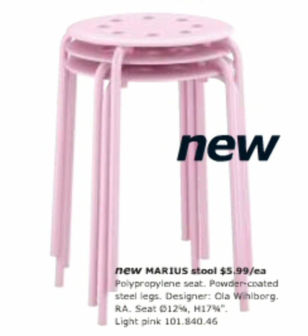 Søtt og enkelt. Og rimelig for disse lyserosa krakkene som kan stables.  Foto: Ikea.com