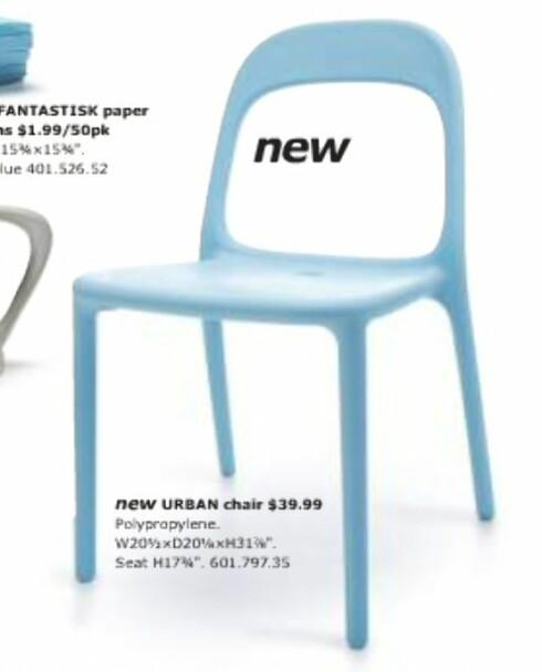 Denne lyseblå stolen er ny for Ikeas amerikanske kunder, men som flere av nyhetene i USA-katalogen har vi nordmenn kunnet kjøpe den en stund.  Foto: Ikea.com