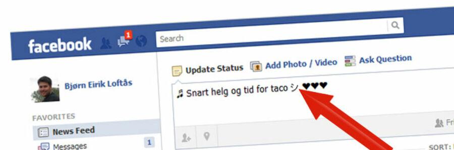 Skriv morsomme tegn på Facebook