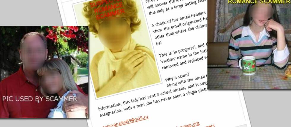 """SVINDLERE? Mange nettsider har som mål å avsløre svindlere. Her ser vi bilder av påståtte """"romance scam""""-utøvere og bilder som hevdes å ha blitt stjålet og brukt i svindelforsøk. Foto: Diverse nettsider"""