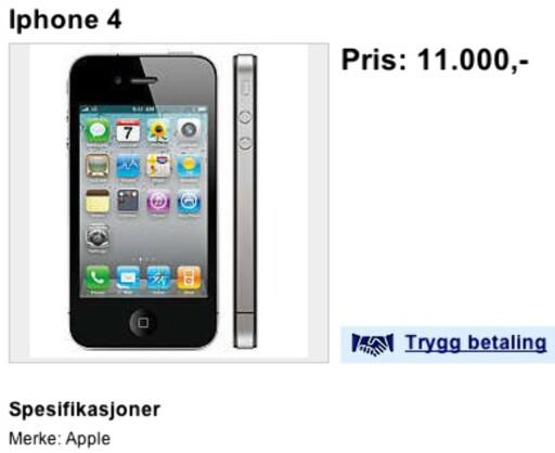 MÅ DU? iPhone 4 kommer til Norge om kort tid. Venter du tre uker kan du spare ihvertfall 5.000 kroner. (fra annonse på Finn.no)