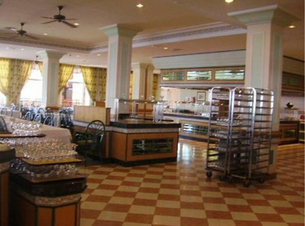 Slik ser spisesalen ut på bildet tatt av en hotellgjest.  Foto: Tripadvisor