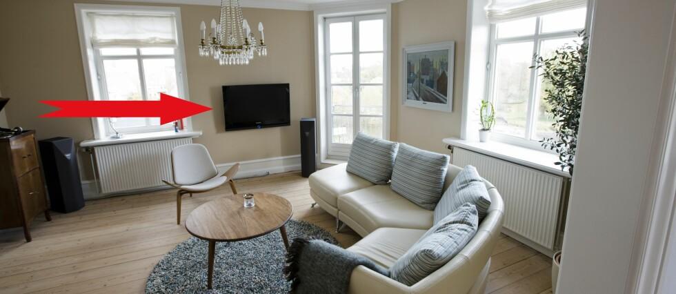 VEGGFAST: Veggfast innredning skal som hovedregel følge med boligen. TV-en er et unntak. Sjekk listen for flere.  Foto: Colourbox.com/DinSide