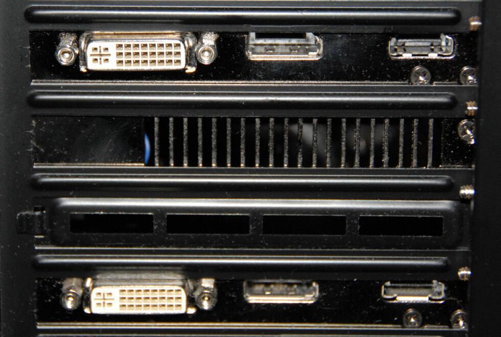 Utganger fra skjermkort: DVI, Displayport og HDMI Foto: Brynjulf Blix
