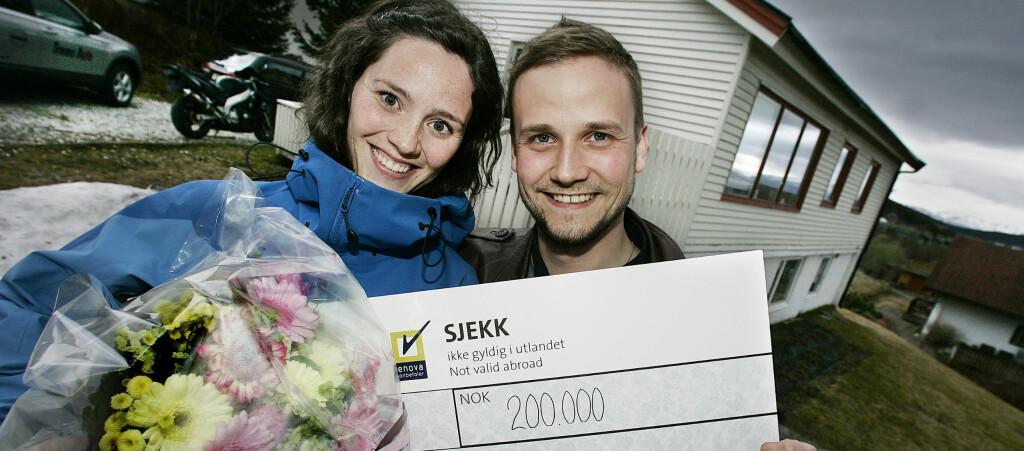 <b>FIKK 200.000 KRONER TIL OPPUSSING:</b> Ingrid og Fredrik Aunegård har fått inntil 200.000 kroner i støtte til etterisolering, tetting og nye 3-lags lavenergivinduer. Foto: Torgrim Rath Olsen, Norlys/Enova