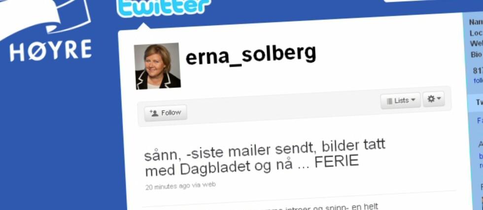 Høyre-lederen annonserer ferie, men ikke nødvendigvis om eller når hun reiser bort. Det er kanskje bevisst? Foto: Twitter
