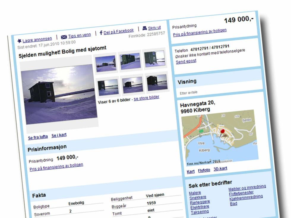 Bolig  beliggende i Kiberg, ca 15 km fra Vardø by og ca. 6o km fra Vadsø by. Prisantydning: 149.000 kroner  Foto: Finn.no
