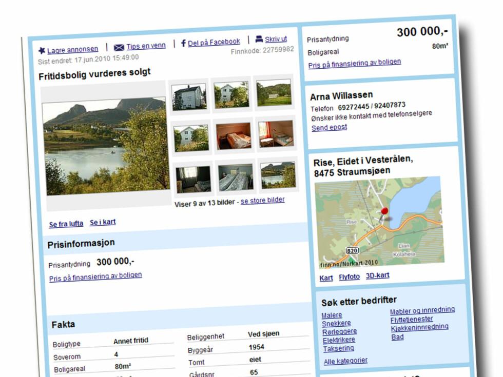 80 kvadratmeter stort hus på to etasjer pluss kjeller. Prisantydning: 300.000 kroner Foto: Finn.no