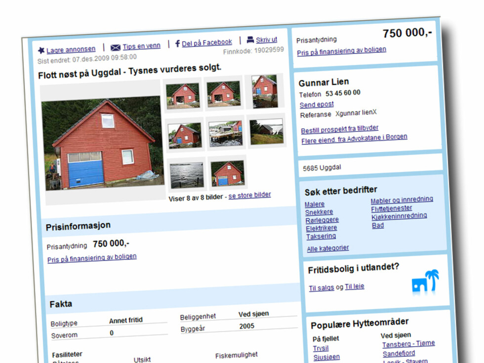 Nøst på Uggdal på Tysnes, 56 kvadratmeter stort, med egen kai og strand.Prisantydning: 750.000 kroner Foto: Finn.no