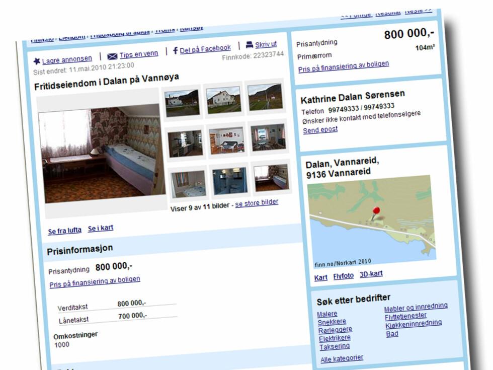 Fritidseiendom i Dalan på Vannøya. Boligen har et bruksareal på 144 kvadratmeter, og en tomt på 84.647 (punktfeste). Prisantydning: 800.000 kroner Foto: Finn.no