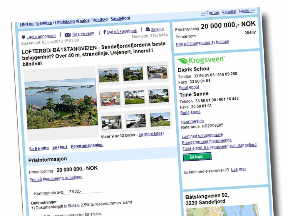 Strandeiendom med ca. 40 meter strandlinje mot Granholmsundet. Beliggende på Lofterød ved Sandefjord. Arkitekttegnet villa på 208 kvadratmeter.Prisantydning: 20 millioner kroner Foto: Finn.no