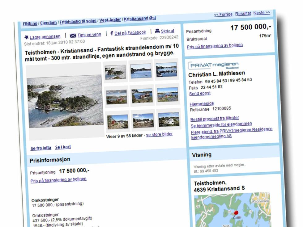 Strandeiendom på Teistholmen ved Kristiansand. Ca 10 mål selveiertomt. 300 m. strandlinje, egen sandstrand, brygge, terrasser, plen, hovedhus, sjøbod og anneks. Prisantydning: 17.500 kroner Foto: Finn.no